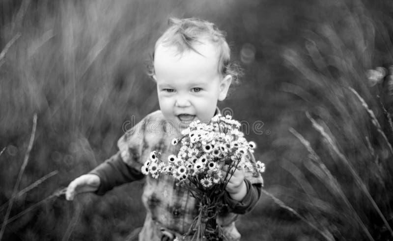 Pequeño niño con las flores salvajes imagen de archivo libre de regalías
