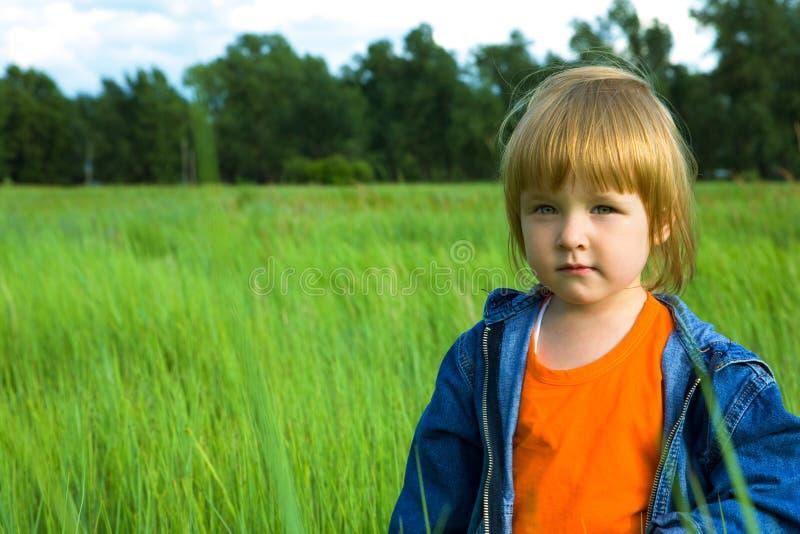 Pequeño niño en campo verde fotografía de archivo libre de regalías