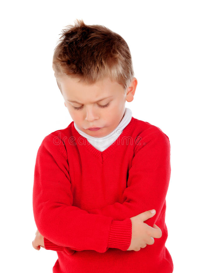 Peque o ni o enojado con el jersey rojo foto de archivo - Foto nino pequeno ...