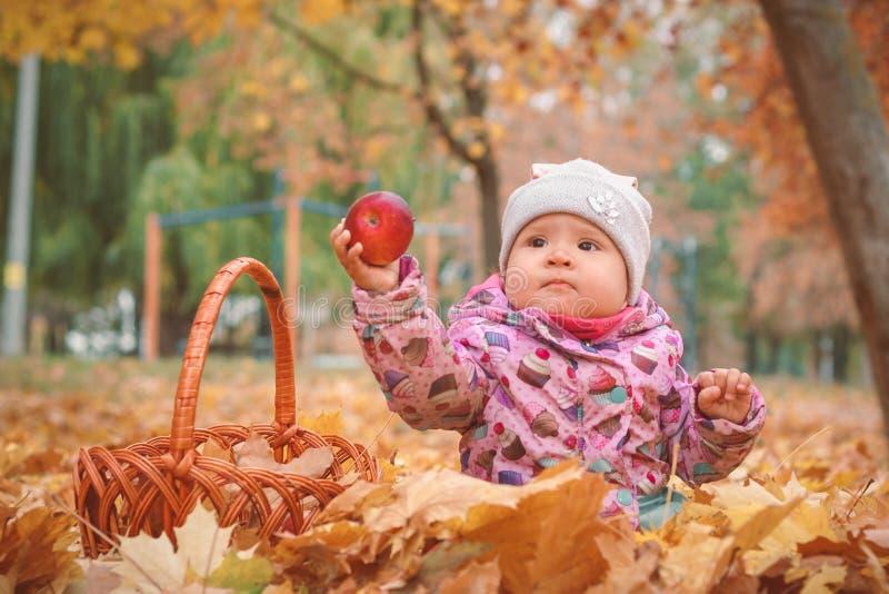 Pequeño niño feliz, bebé que juega en otoño imagenes de archivo