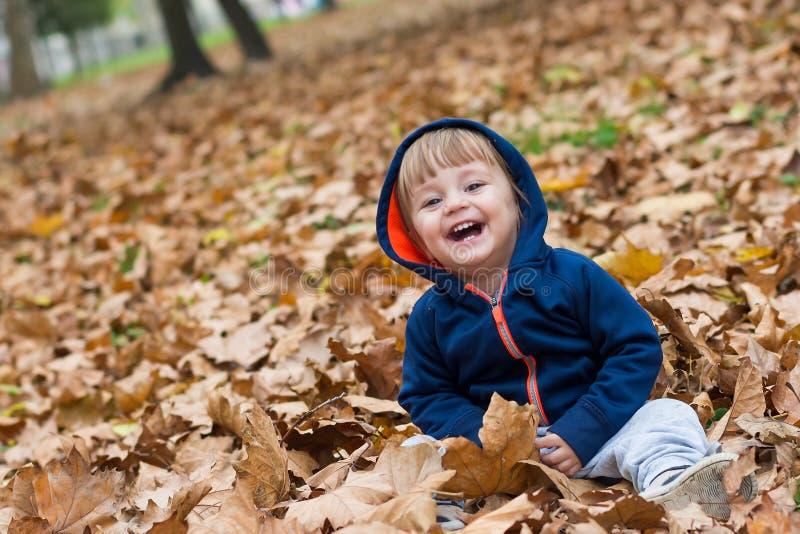 Pequeño niño feliz, bebé que ríe y que juega en otoño imágenes de archivo libres de regalías