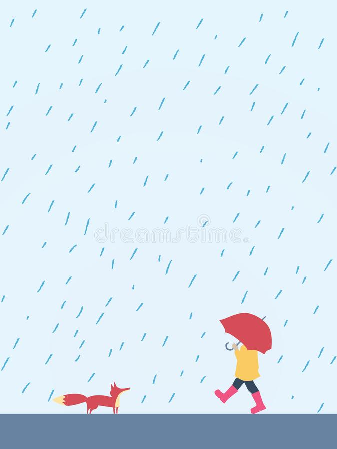 Pequeño niño juguetón que camina con el paraguas en el zorro de la reunión de la lluvia Personaje de dibujos animados lindo, ador stock de ilustración