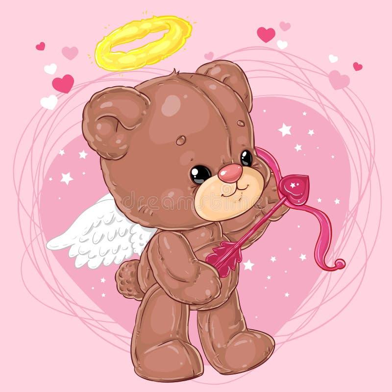 Pequeño oso de peluche lindo del ángel con la flecha del cupido en fondo del corazón Tarjeta de felicitación con día del ` s de l ilustración del vector