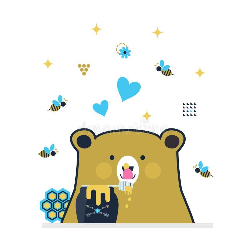 Pequeño oso lindo azul y de oro que lame el palillo de la miel rodeado por las abejas del vuelo ilustración del vector