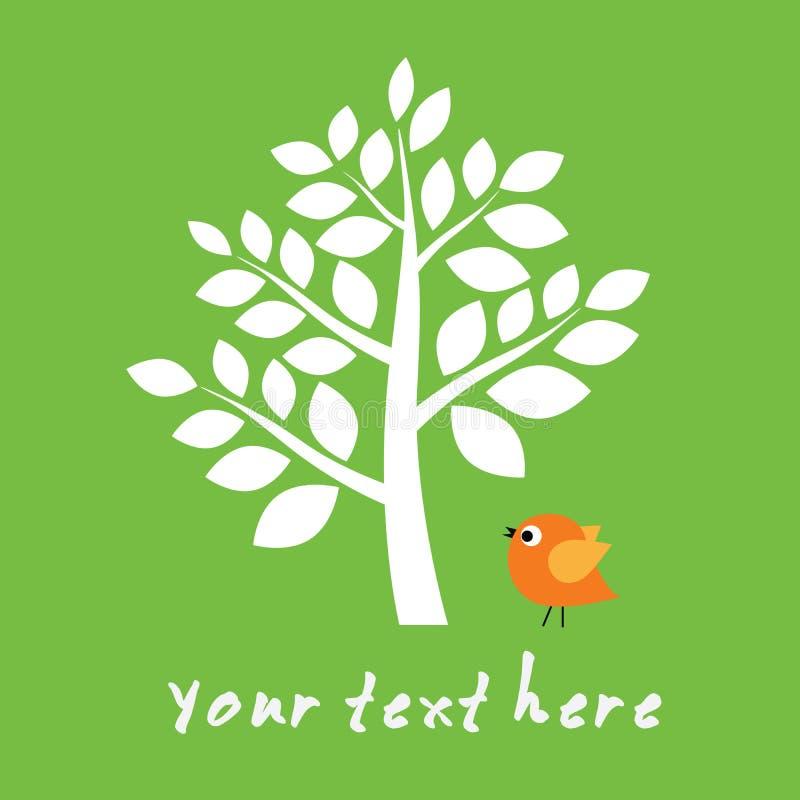 Pequeño pájaro bajo árbol grande libre illustration