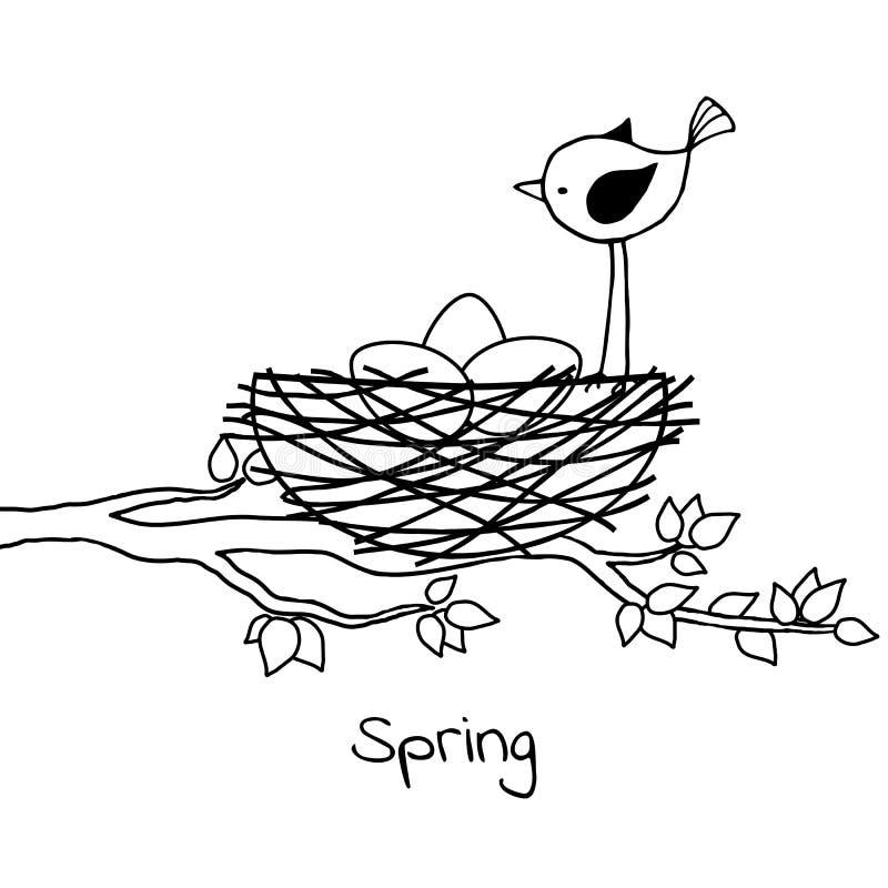Pequeño pájaro en la jerarquía con los huevos stock de ilustración