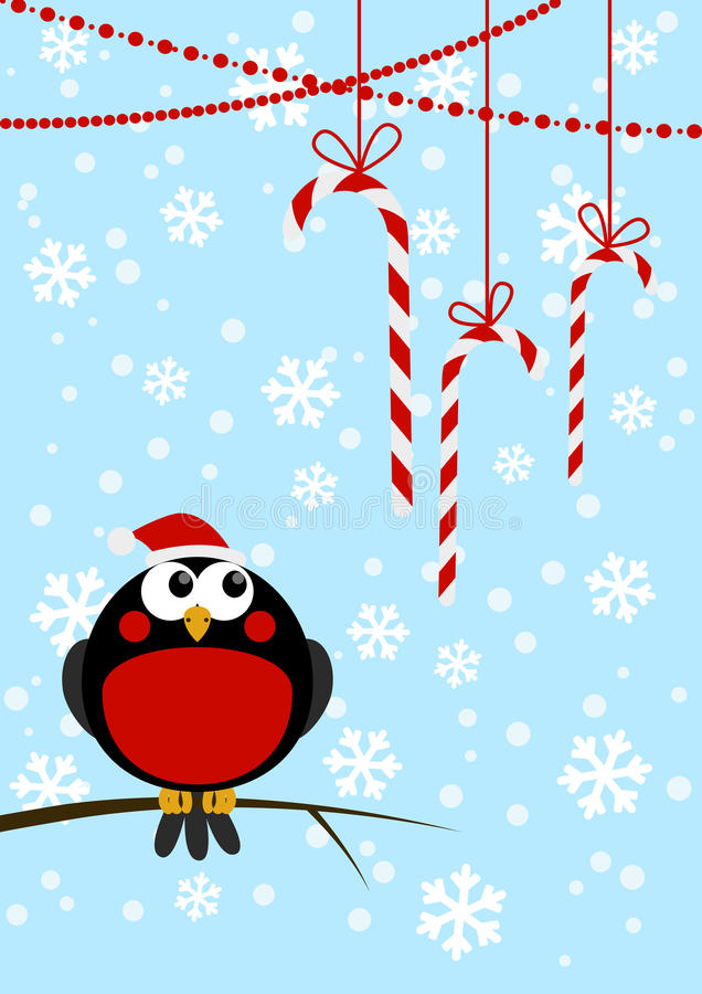 Pequeño pájaro lindo con los caramelos de la Navidad ilustración del vector
