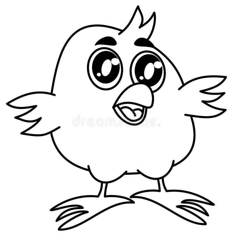 Pequeño Pájaro Que Sonríe Para Colorear Stock de ilustración ...