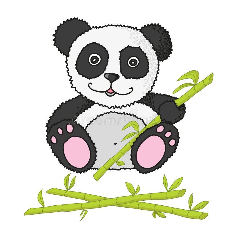 Pequeño panda con el bambú ilustración del vector