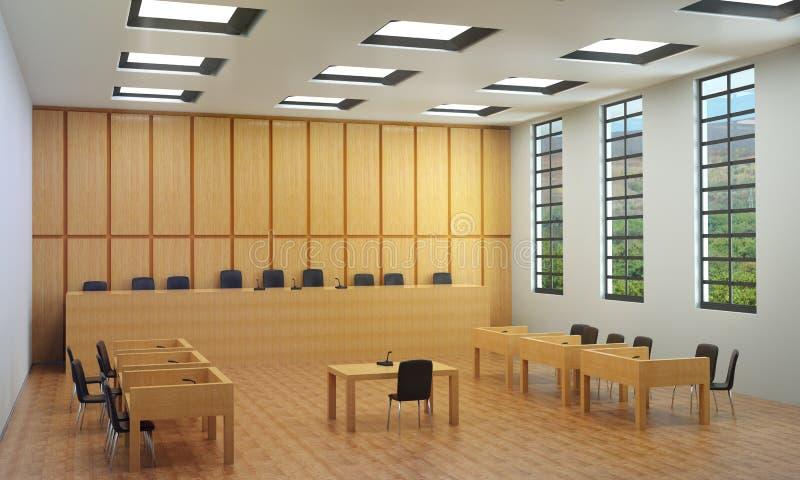Pequeño pasillo o sala de tribunal vacía ilustración del vector
