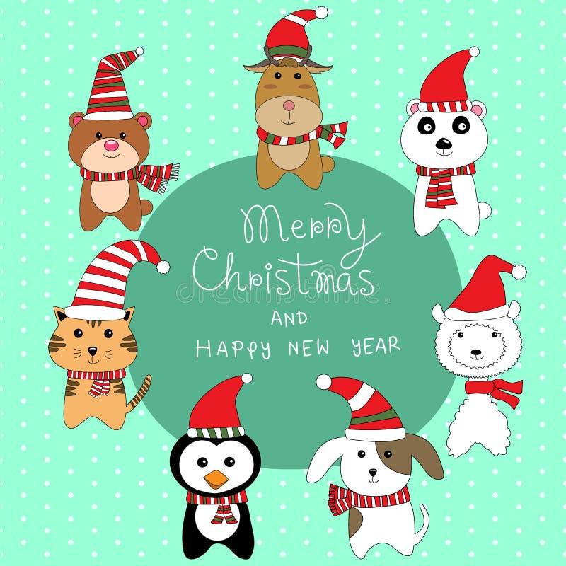 Pequeño pequeño animal lindo en vector del traje de la Navidad libre illustration