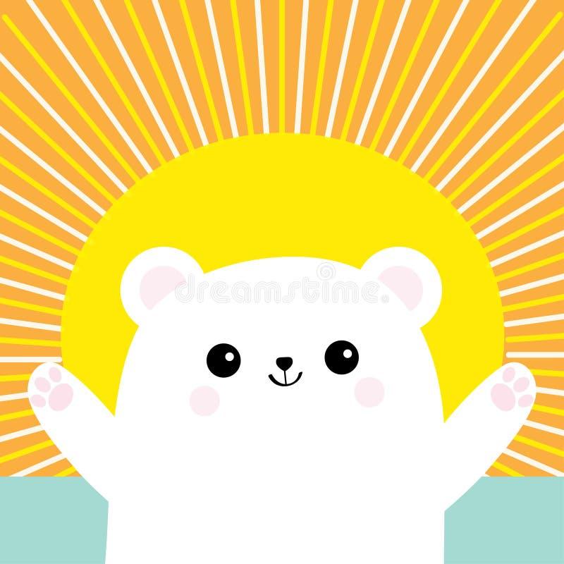 Pequeño pequeño cachorro de oso blanco polar El alcanzar para un abrazo Carácter lindo del bebé de la historieta Abra la mano lis libre illustration