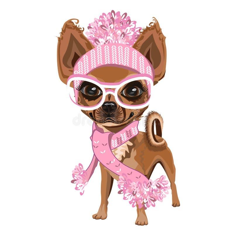 Pequeño perrito en sombrero stock de ilustración