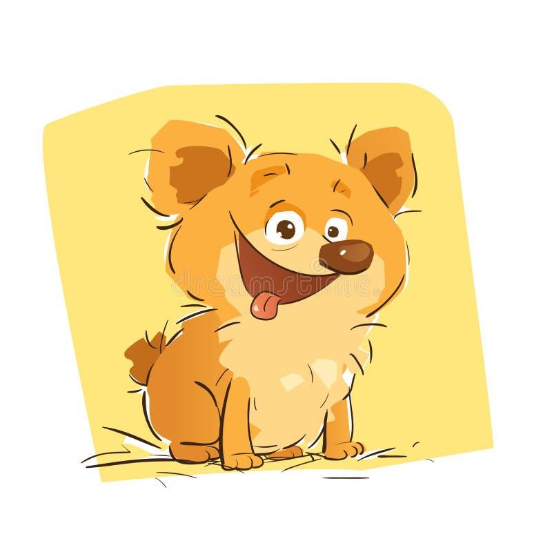 Pequeño perro feliz stock de ilustración