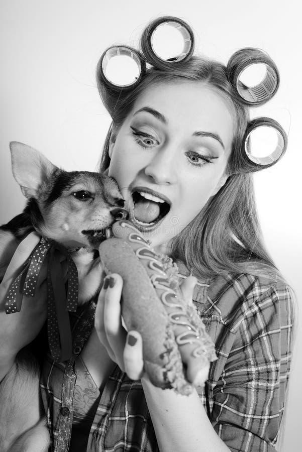 Pequeño perro lindo y mujer joven hermosa que comparten a fotografía de archivo libre de regalías