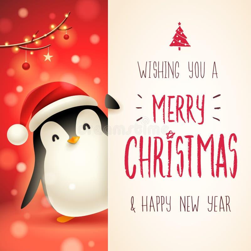 Pequeño pingüino lindo con el letrero grande Diseño de letras de la caligrafía de la Feliz Navidad ilustración del vector