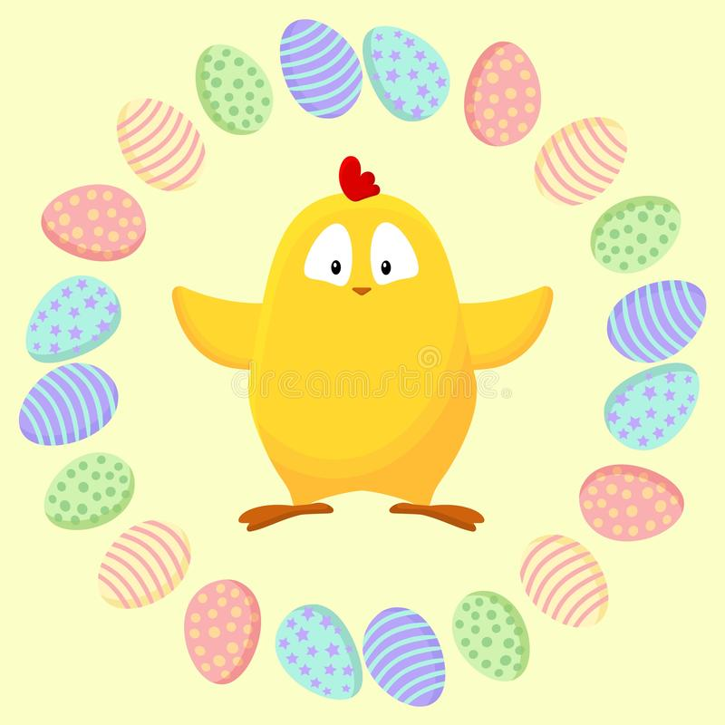 Pequeño pollo amarillo lindo en una guirnalda de los huevos de Pascua stock de ilustración
