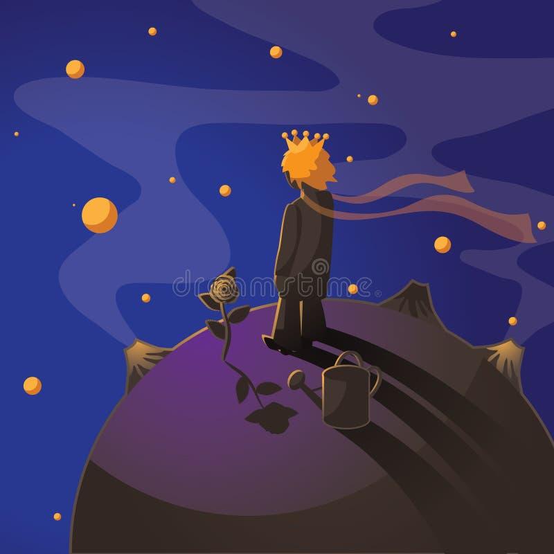 Pequeño príncipe con una rosa que se coloca en un asteroide stock de ilustración