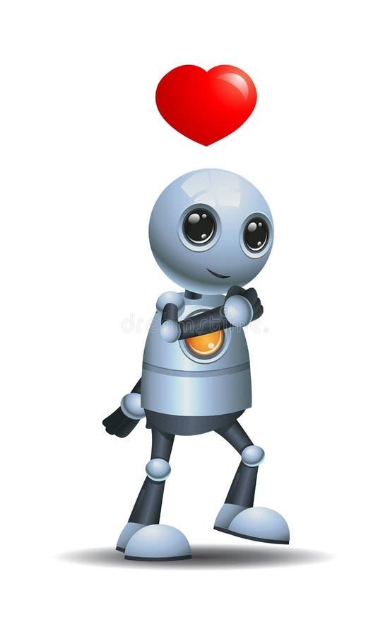 pequeño robot que camina en la sensación del amor ilustración del vector