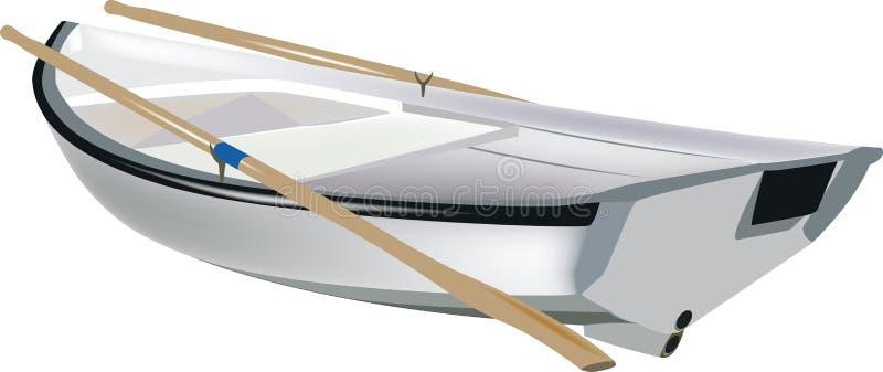 Pequeño rowing blanco del barco libre illustration