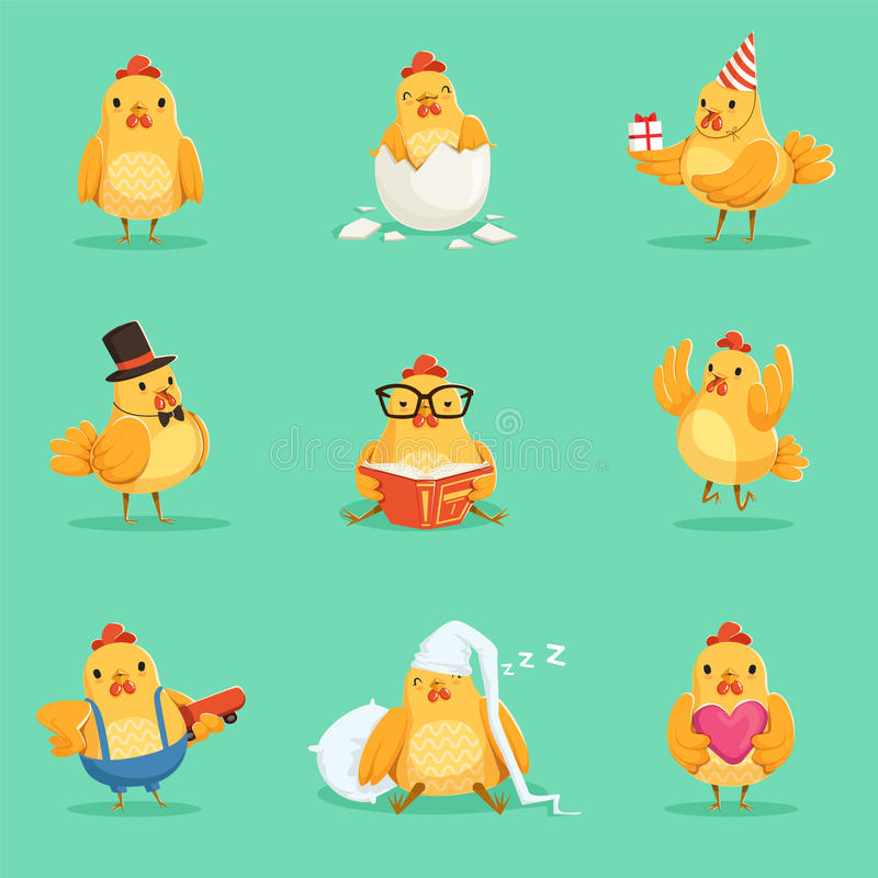 Pequeño sistema amarillo de Chick Different Emotions And Situations del pollo de los ejemplos lindos de Emoji ilustración del vector