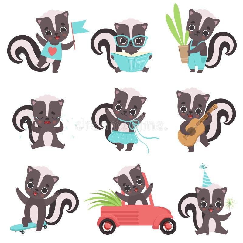Pequeño sistema lindo de las mofetas, personajes de dibujos animados adorables de los animales del bebé en diverso ejemplo del  ilustración del vector