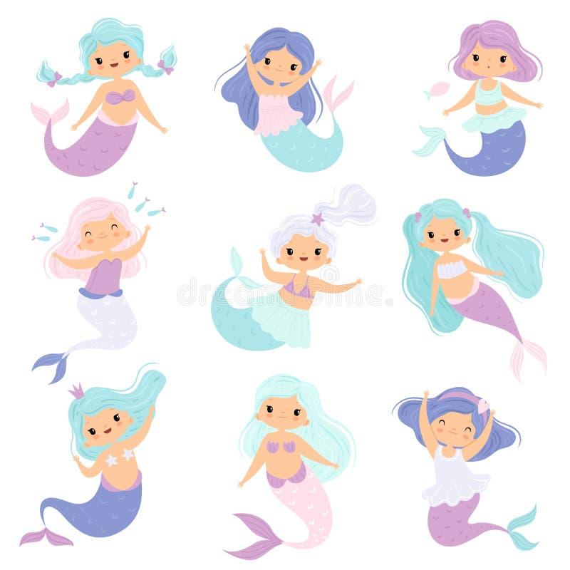 Pequeño sistema lindo de las sirenas, ejemplo precioso de princesa Mermaid Characters Vector de la muchacha del cuento de hadas stock de ilustración