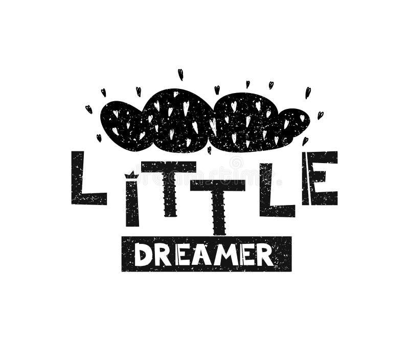 Pequeño soñador Cartel dibujado mano de la tipografía del estilo libre illustration