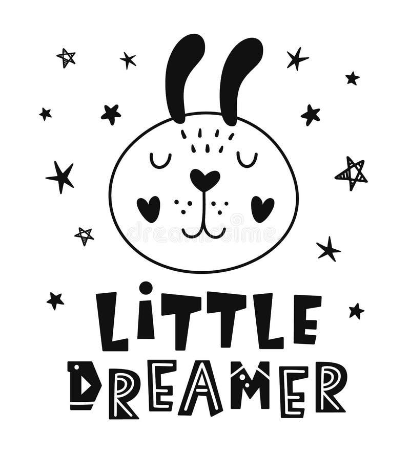 Pequeño soñador Cartel infantil del estilo escandinavo ilustración del vector