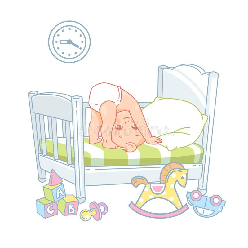 Pequeño soporte lindo del bebé en la cabeza en cama stock de ilustración