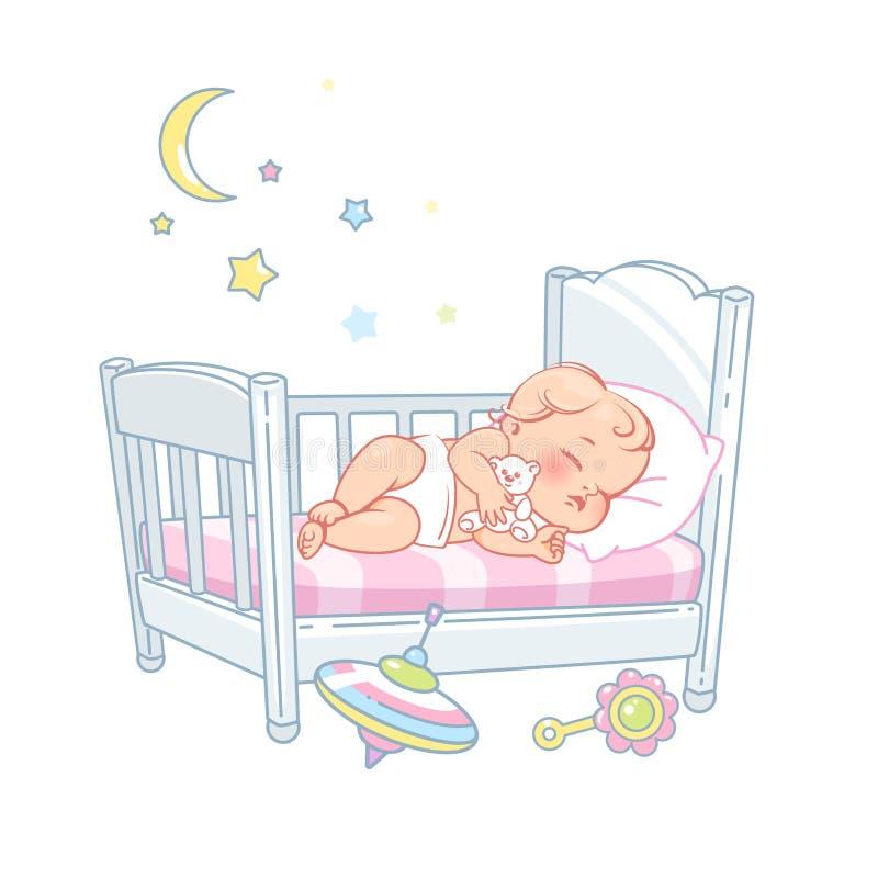 Pequeño sueño lindo del bebé en cama Sue?o sano ilustración del vector