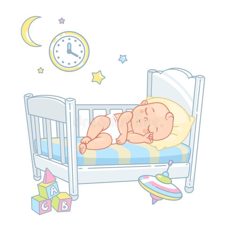 Pequeño sueño lindo del bebé en cama Sue?o sano libre illustration