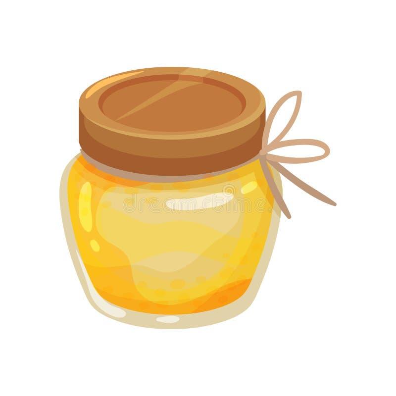 Pequeño tarro de cristal de miel fresca Producto orgánico y sano Comida dulce Diseño del vector de la historieta libre illustration