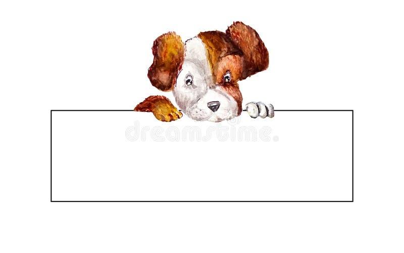 Pequeño terrier de Russell del enchufe del perrito que cuelga sus patas sobre una bandera en blanco larga blanca Espacio en blanc libre illustration