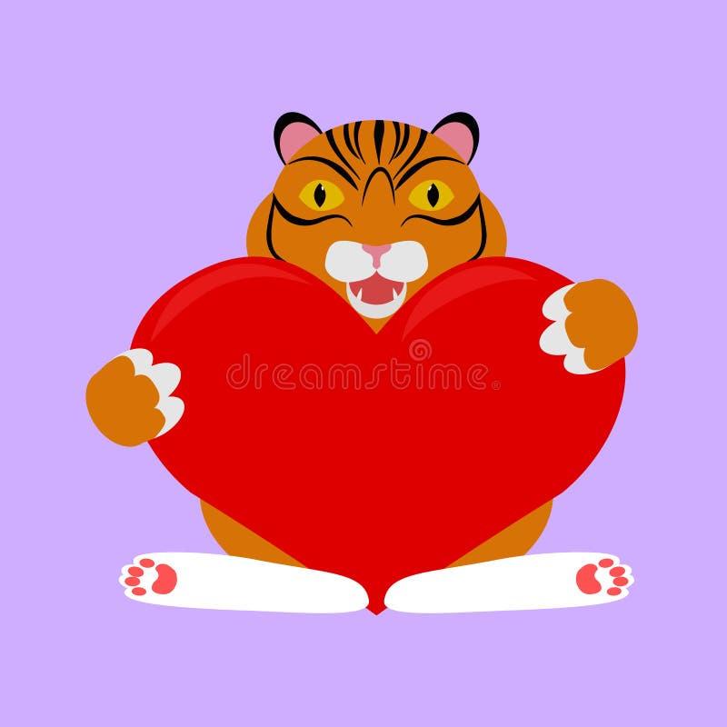 Pequeño tigre con el corazón rojo ilustración del vector