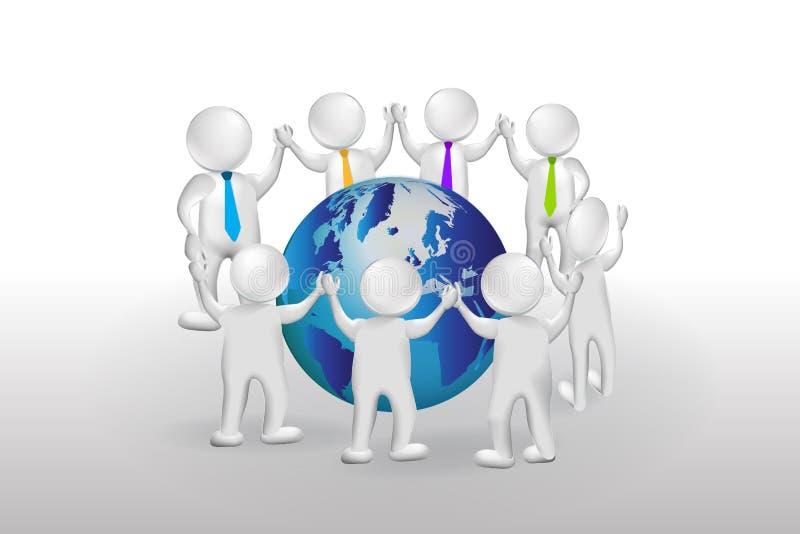 pequeño trabajo en equipo de la gente 3d alrededor del logotipo del mundo stock de ilustración