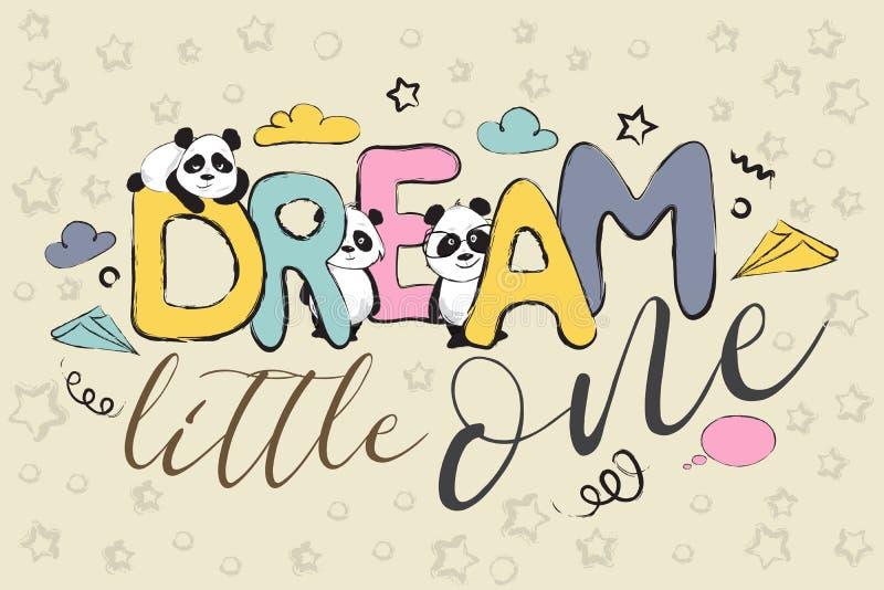 Pequeño un diseño ideal de la tarjeta de felicitación con los osos y cita de panda lindos libre illustration