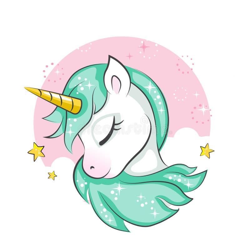 Pequeño unicornio mágico lindo stock de ilustración