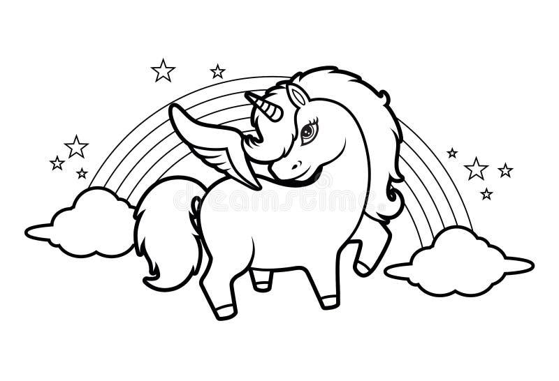 Pequeño unicornio mágico lindo, arco iris y estrellas, ejemplo de libro de colorear para los niños - vector stock de ilustración