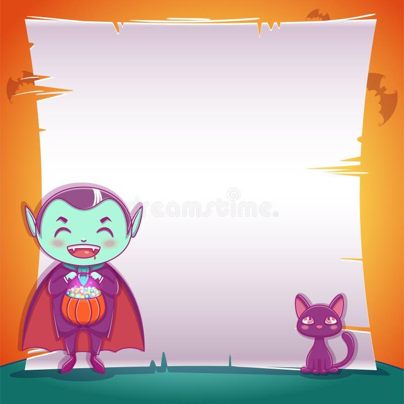 Pequeño vampiro con el gatito negro Partido del feliz Halloween Plantilla Editable con el espacio del texto libre illustration
