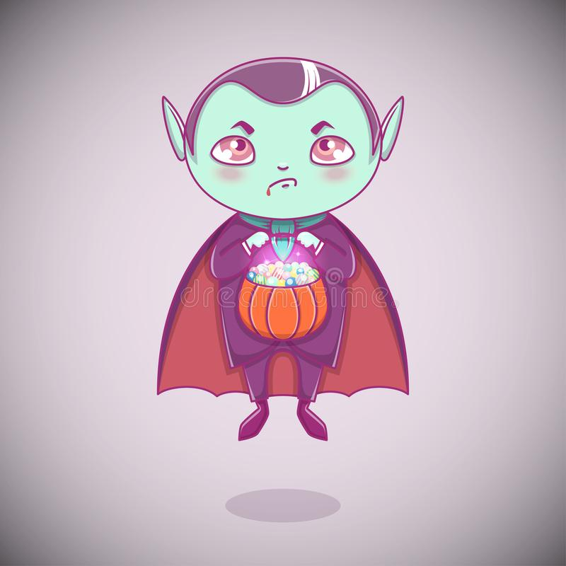 Pequeño vampiro Drácula de Halloween Niño del muchacho con la cara enojada en el traje de Halloween con la calabaza en sus manos libre illustration
