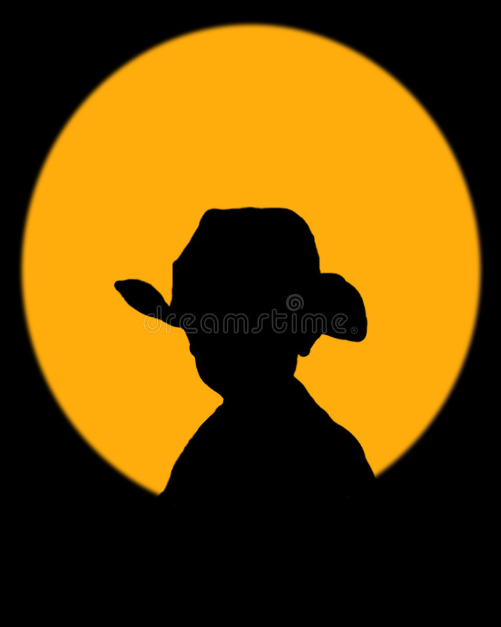 Pequeño vaquero en el sol de configuración fotos de archivo