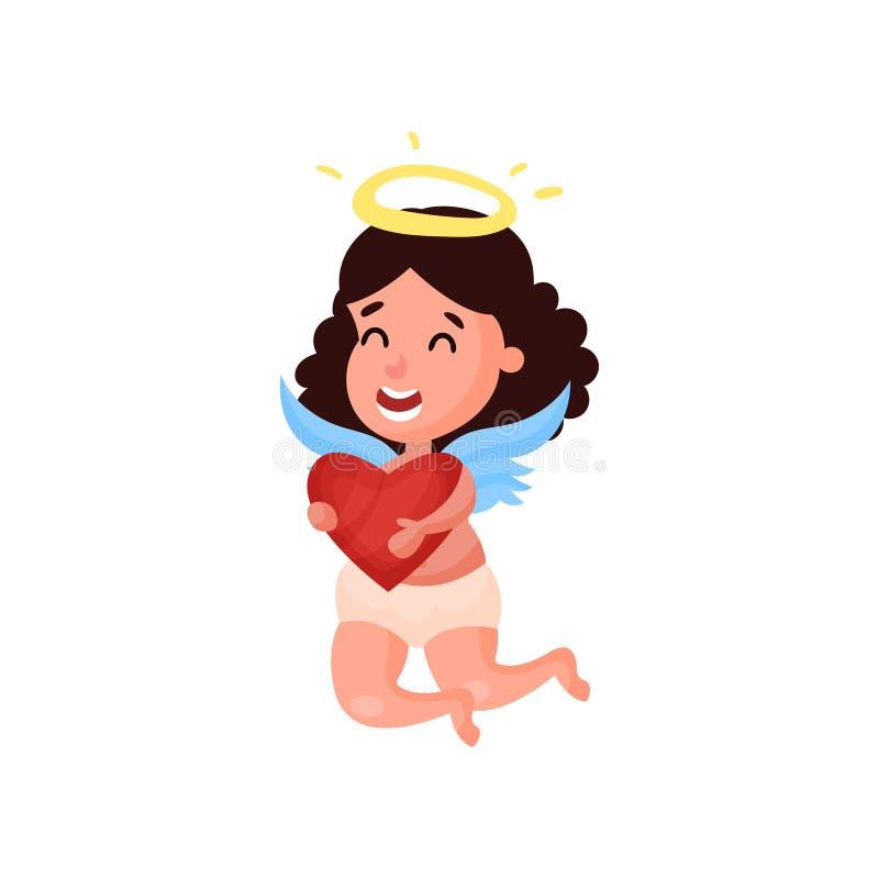 Pequeño vuelo moreno dulce de la muchacha del ángel con el ejemplo rojo del vector de la historieta del corazón libre illustration