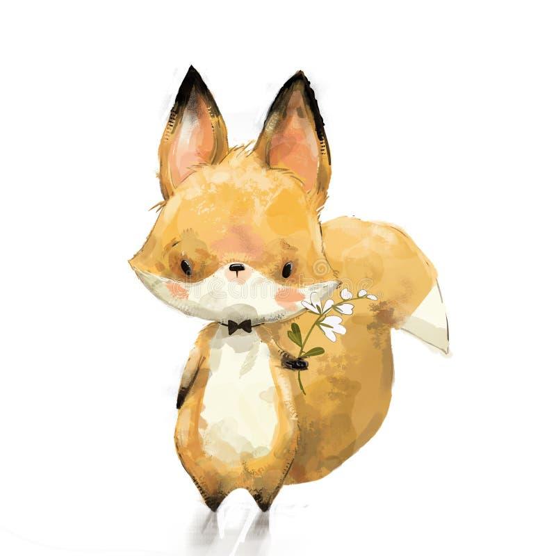 Pequeño zorro con la flor stock de ilustración