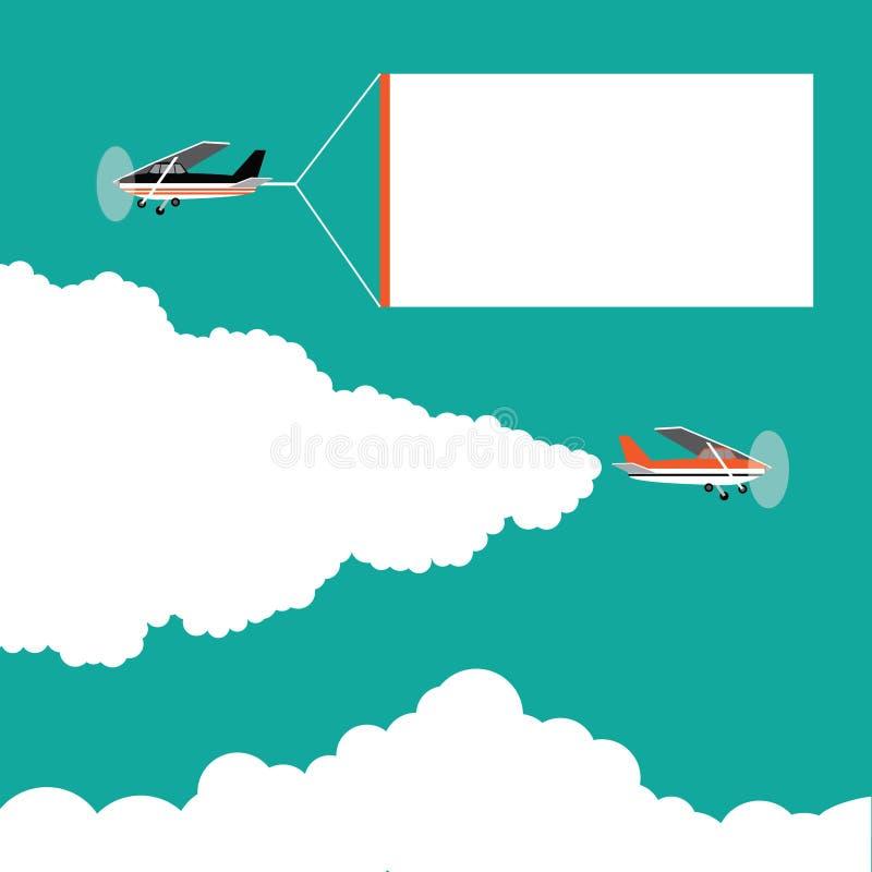 Pequeños aeroplanos de la historieta plana del diseño que tiran de banderas de la publicidad ilustración del vector