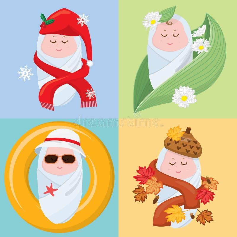 Pequeños bebés dulces cuatro estaciones ilustración del vector