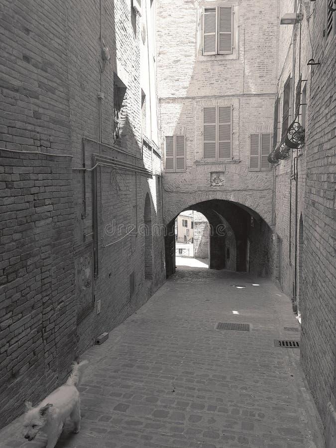 Pequeños callejones y arcadas en el centro medieval de Recanati, Italia fotos de archivo libres de regalías