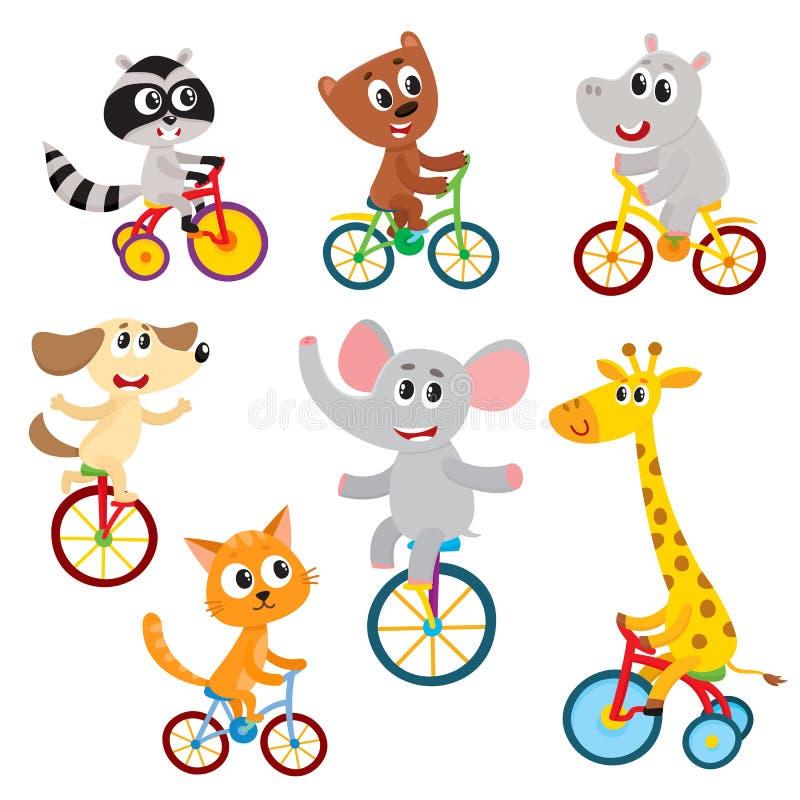 Pequeños caracteres animales lindos que montan el unicycle, bicicleta, triciclo, completando un ciclo stock de ilustración