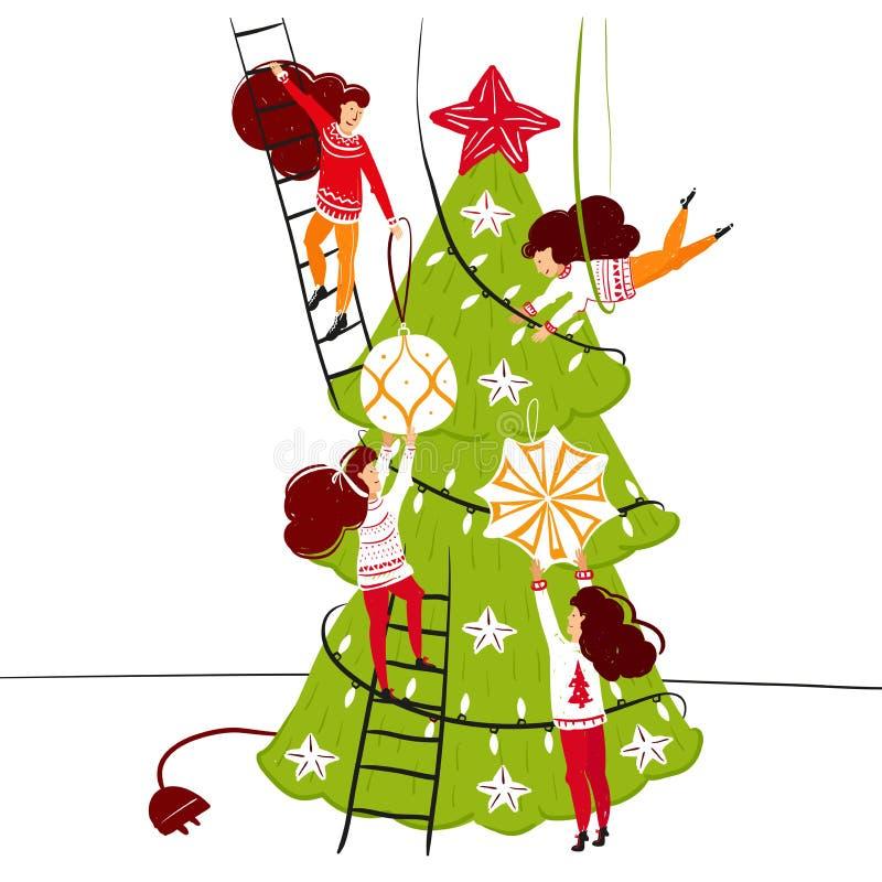 Pequeños caracteres de la gente que adornan el árbol de navidad Decoración del Año Nuevo Pequeña gente de la fantasía en el mundo stock de ilustración