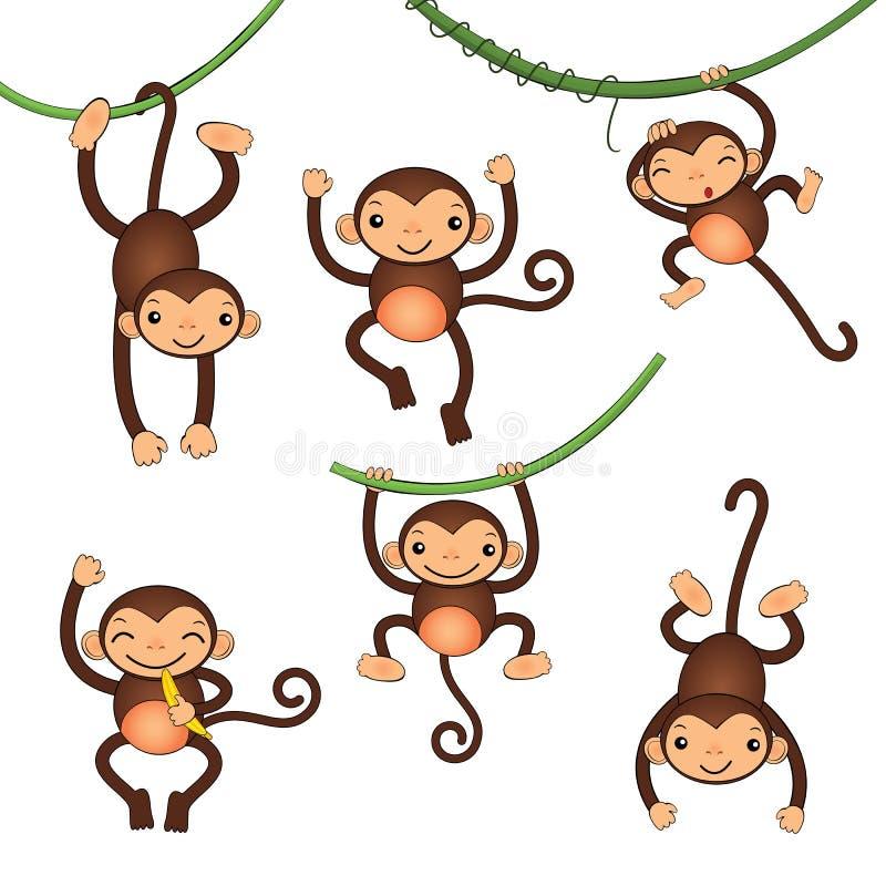 Pequeños caracteres lindos de los monos ilustración del vector